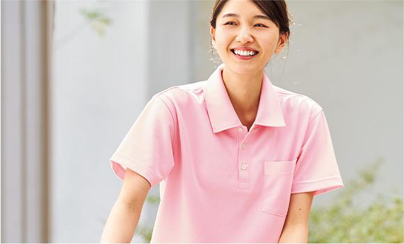毎日の介護シーンに対応する軽快ポロシャツ